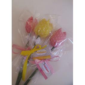 Kit Com 50 Flores Tulipas Em Tecido Cores Variadas Sortidas