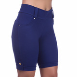 Bermuda Shorts Lycra 4 Bolsos Passante De Cinto Plus Size