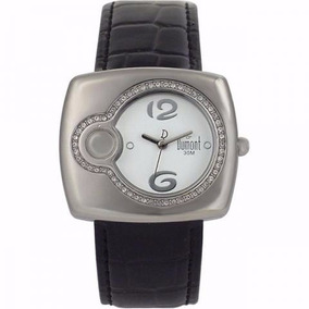 Relógio Dumont Prateado Brilhoso Com Cristal Pulseira Couro