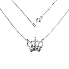 Colar Com Pingente De Coroa Prata 925 Feminina 45 Cm