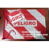 100 Banderas De Peligro 50x70cm Reforzadas Vial Ley 24449