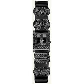 Guess Swarovski Logotipo De G Negro Patente Cinturón De Cue