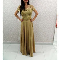 Vestido De Festa Dourado/casamento/madrinha/mãe De Noiva