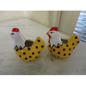 #8539# Par De Paliteiros Em Porcelana Galinha Amarela!!!