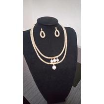 Collar Artesanal Metalico Tela, Piedras Y Cadena A Elegir