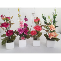 Arranjo Minide Flores Artificiais, Vaso De Porcelana Cada