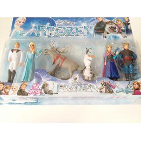 Colelçao 6 Bonecos Frozen Elsa Anna Kristiff Hans Olaf Sven