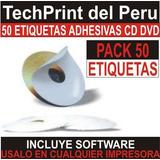 50 Etiquetas Para Cd / Dvd + Software Para Toda Impresora