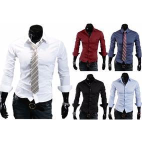 Pack X5 Camisas Entalladas Slim Fit Todos Los Talles Hombre