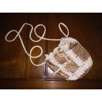 Cartera Cuero Y Crochet Usada