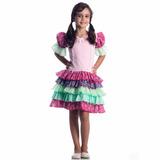Vestido Caipira Babados Luxo Tam M 6/8 - Rosa - Festa Junina