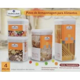 Kit 4 Potes Herméticos Em Acrílico - Import Frete Grátis