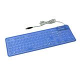 Teclado Flexible Usb Para Computador Azul Kb-s109