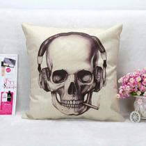 Cojín Decorativo Calavera 45x45cm Muerto Almohada Día Muerte
