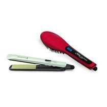 Prancha Shine Therapy + Escova Elétrica Alisadora Easy Brush