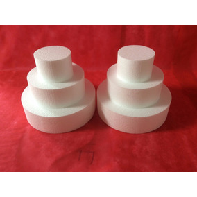 2 Kits Base Bolo Falso-isopor 3 Andares (35x25x15) Alt 30cm