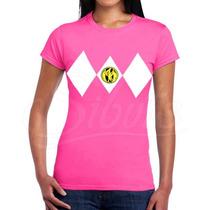 Playera Mujer Personalizada Con Diseño Power Ranger Pink