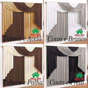 Cortina Elegance 3,00m X 2,80m Tabaco E Avelã P/ Sala-quarto