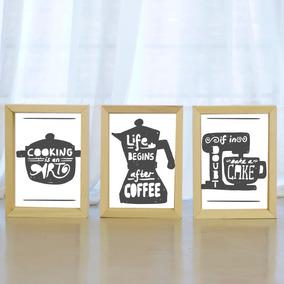 triptico cuadros moderno marco tipo box x cocina