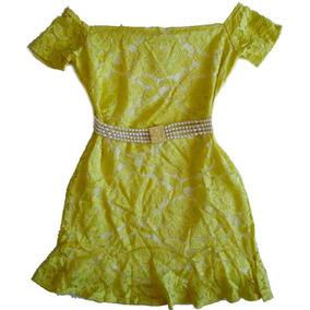 Mini Vestido Ombro A Ombro Amarelo De Renda Com Babado