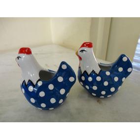 #8538# Par De Paliteiro Em Porcelana Galinha Azul!!!