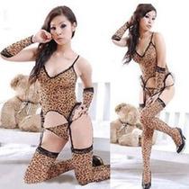 Moda Sexy Baby Doll Animal Print Guantes Medias Y Tanga