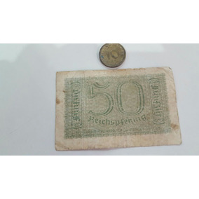 Billete Y Moneda Antigua Bronce Alemania Nazi Floresta