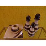 Trio Vasos E Prato Bola Decorativo Cerâmica Lindas Peças