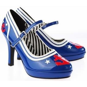 Zapato Importado Stiletto Pin Up Sarkany Taco Alto Pleaser
