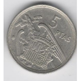 Moeda Antiga 5 Ptas Ano 1957 Espanha Mbc