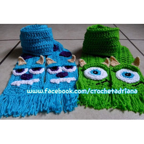 Bufanda Monster Inc Y Lapiz Crochet Tejido