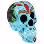 Crânio Caveira Mexicana - Estatueta - Escultura - Azul
