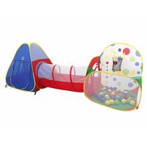 Toca Barraca Infantil Tunel 3 Em 1 Basket Ball 100 Bolinhas