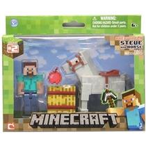 Minecraft Boneco Steve Com Cavalo E Acessórios