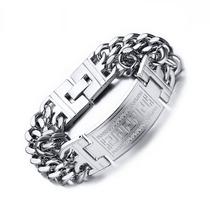 Pulseira Bracelete Masculino Prata Aço Cirúrgico 316l