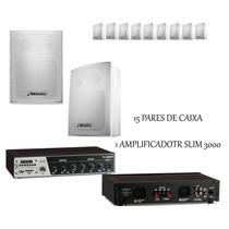 Kit Completo Receiver Amplificador + 30 Caixas Som Ambiente