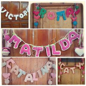 Cartel Tejido Letras Nombre Bebe Nacimiento Bienvenida!!