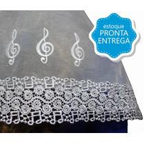 Véu Ccb Redondo Renda Guipir Notas Musicais (aplicação)