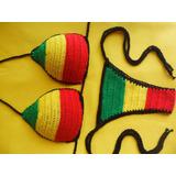 Biquini De Crochê - Cores Do Reggae
