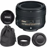 Lente Nikon 50 Mm 1.8 G Af-s Nikkor Autofoco Parasol Funda