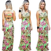 Vestido Longo Floral Festa Frente Única Ótimo Tecido 2706