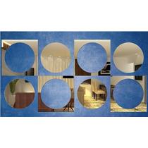 Kit Com 8 Espelhos Decorativos Espelho Quadrados E Circulos