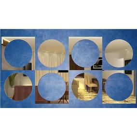 Kit Com 8 Espelhos Decorativos Quarto - Quadrados E Circulos