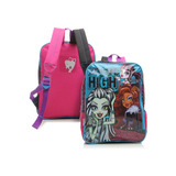 Mochila G Monster High 16m Sestini Oncinha Azul Costas