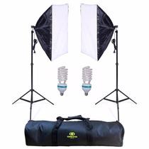 Kit Estúdio: Tripé Iluminação + Softbox 50x70 + Lâmpada 110v