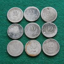 Lote 9 Monedas 10 Centavos Plata Porfiriano Varias Fechs