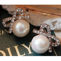 Lindos Aretes Perlas Con Lacito Cristales Para Vestido Blusa