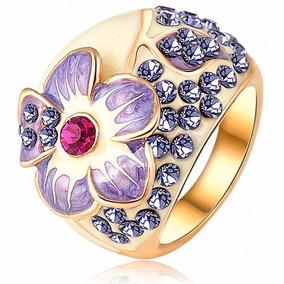 anillo baado en oro rosado k cristales swarovski joyas