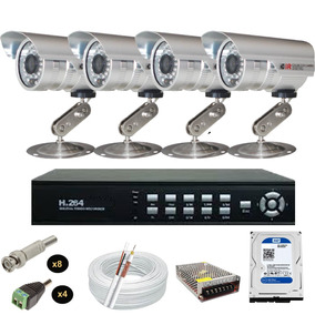 Kit Sistema Vigilancia 4 Cameras 1800 Linhas Hd Seagate 320g