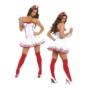 Disfraz Sexy Enfermera Santa Claus Vestido Navideño Militar